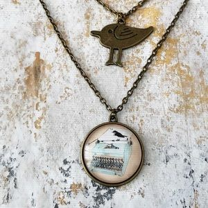Vintage Typewriter & Bird Pendant Necklace